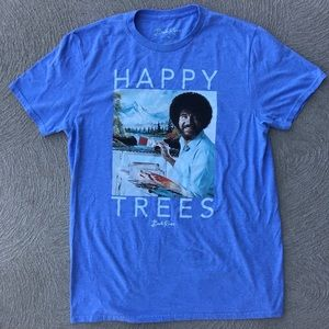 Bob Ross Happy Trees Blue T-Shirt Medium Painting